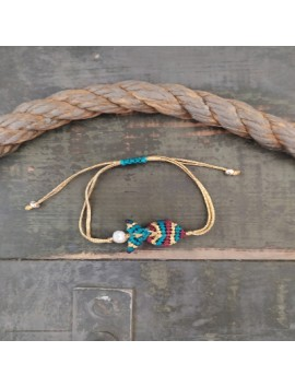 Macrame fish bracelet-Blue