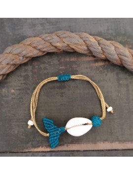 Macrame mermaid tail with shell-Blue