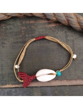 Macrame mermaid tail with shell-Red